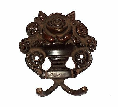 An Old Brass made Unique ROSE FLOWER  Designed COAT HOOK Key Hanger from India