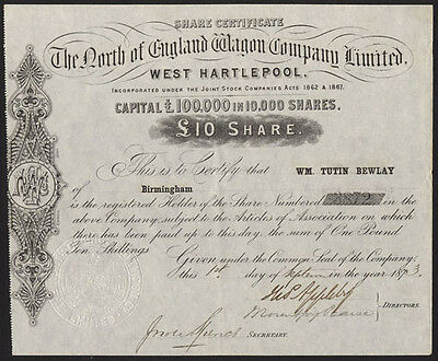 North of England Wagon Co. Ltd., West Hartlepool, £10 share, 1873
