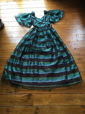 Vintage Dress Green/ Black Victorian Style/ approx size 10