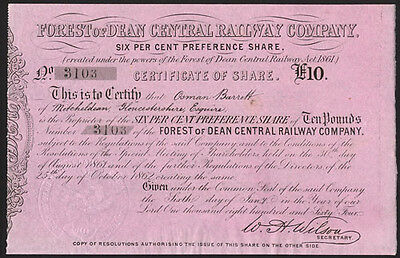 Forest of Dean Central Railway Co., £10 share, 1864