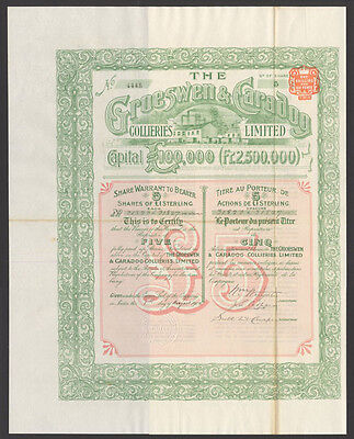 Groeswen & Caradog Collieries Ltd., Wales, share warrant, 5 £1 shares, 1901
