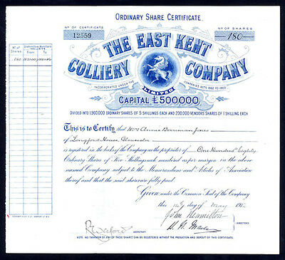 East Kent Colliery Co. Ltd., 5 shilling shares, 1912