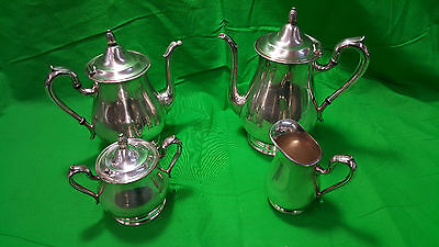 Reed & Barton Jamestown Silver Plate 4-Piece Coffee Tea Set