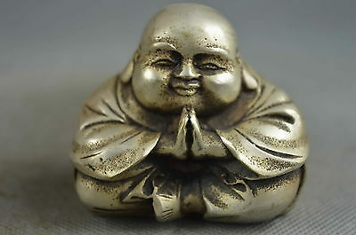 Collectible Miao Silver Carve Sincerity Buddha Pray Lucky Exorcism Unique Statue