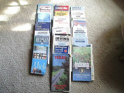 20 Vintage Road Maps 70's to 07 Texas Michigan Indiana St Louis Louisville more