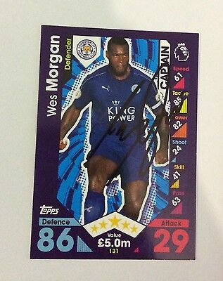 NEW Match Attax 16 17 Signed Wes Morgan Card Leicester City