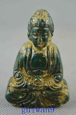 Collectible Old Smooth Jade Carve Lovely kindly Buddha Moral Auspicious Statue
