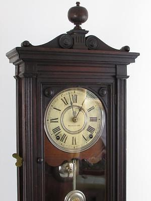 "ANTIQUE MAHOGANY SHELF CLOCK by SETH THOMAS patented 1878 ""OVERWIND PREVENTION"""