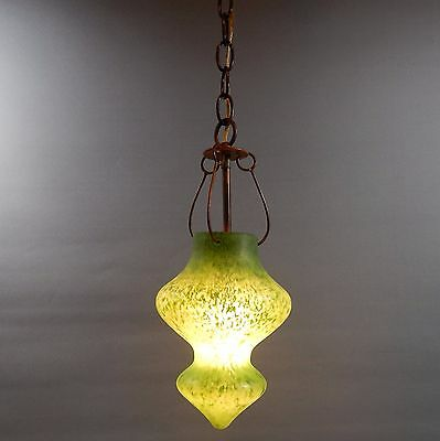 Vintage Green Glass Pendant Light Lamp Murano Morroccan Style