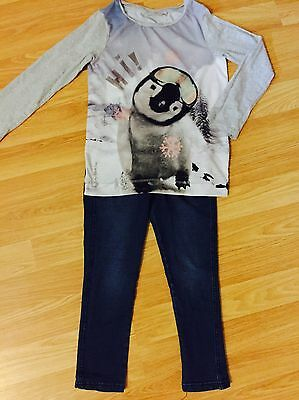 Girls NEXT Winter Penguin Top & Jegggings Outfit 4-5 Yrs VGC