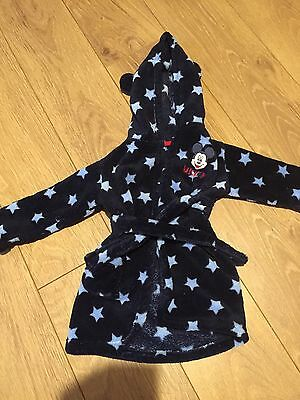 Baby Boys Mickey Mouse Dressing Gown 12-18 Months Hardly Worn