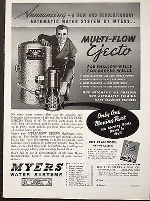 Vintage Print Ad 1941 (X6)~Myers Water Systems For The Farm