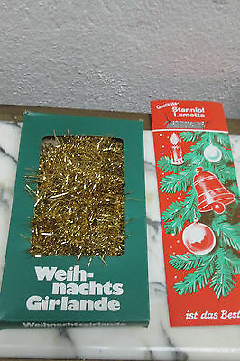 1 vintage tinsel Garland gold Germany 1 package Lead Lametta  never used