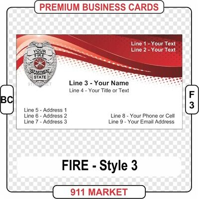 Firefighter Business Cards Full Color Fire Department Chief Badge Patch - BC F 3