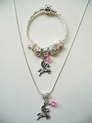 Child girls White Leather Charm Bracelet Necklace set european style, Pegasus 1