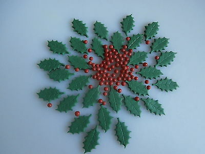 Edible sugar paste Christmas Holly leaves & Berries-cake topper-decoration
