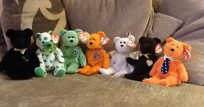 TY Beanie Teddy Bundle X7 Six With Tags Includes 'Kicks' With Error Collectible