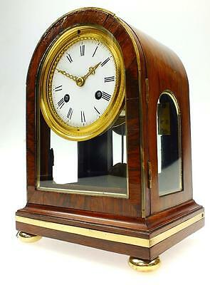 Antique French Rosewood & Glass 8 Day Bell Striking Table Bracket Mantel Clock