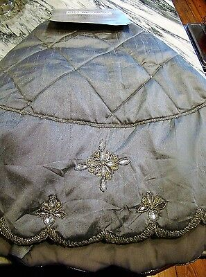 Kim Seybert Beaded Jeweled Silver Grey Quilted  Holiday Christmas Tree Skirt Nwt