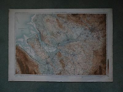 Ordnance Survey CLOTH Map Liverpool Manchester 1908 Chester Tarporley Wigan Sale