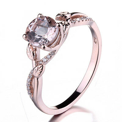 Solid 14K White Gold Pave Prong Setting Round Morganite & SI/H Real Diamond Ring