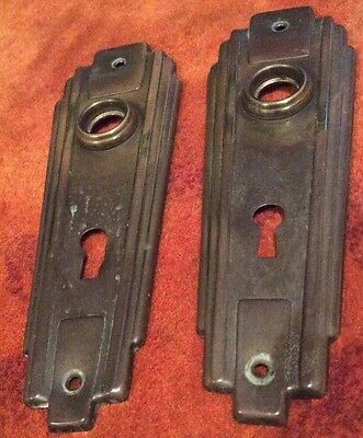 Art Deco Vintage Metal Door Passage Key Door plate Back Plate Skeleton Key Hole