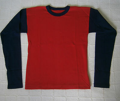 Vintage Long-Sleeve Stretch Top - Age 16-Teens - Red/ Navy - Ribbed  - New