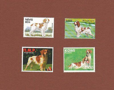 Brittany dog stamps set of 4 MNH