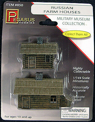 Pegasus 850 Russian Farm Houses 1/144 Scale Painted & Weathered for Dioramas