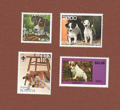 Parsons Jack Russell Terrier dog postage stamps set of 4 MNH