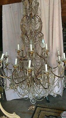 OMG PALATIAL HUGE MACARONI BEADED ITALIAN CHANDELIER LAMP OVER 5FT crystal prism