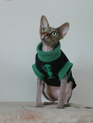 small adult ALIEN  soft fleece top for a Sphynx cat clothes, Katzenbekleidung
