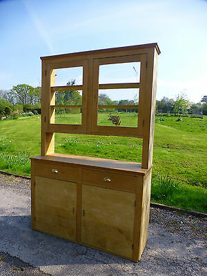VINTAGE RUSTIC PINE DRESSER. Glass cupboard with doors 2 parts. shabby chic.