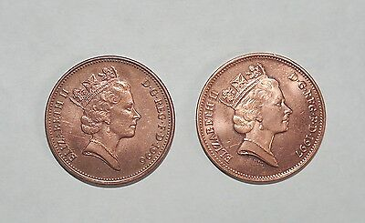 GB Two pence 1996 and 1997 lustre