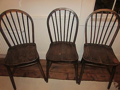 Antique Vintage Solid elm seat chairs
