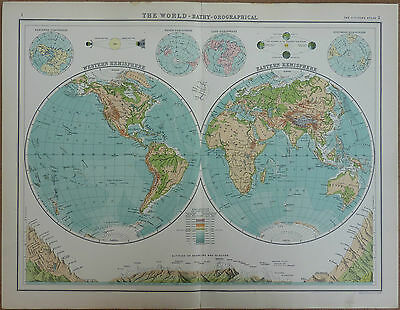 Old Antique Map of The World Bathy-Orographical by Bartholomew 1912