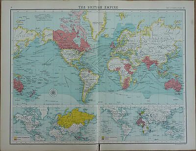 Old Antique Map of The British Empire by Bartholomew 1912