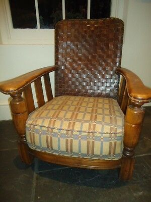 Vintage Art Deco 1930's plaited leather armchair for renovation or upholstery