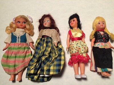 Vintage Dolls  Lot Of 4 Eyes Open Close & Painted Victorian Spanish Swedish Good