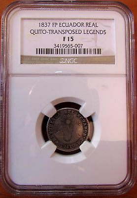 1837 Fp Un Real Transposed Ecuador -  Extremely Rare - Very Nice - Ngc F15