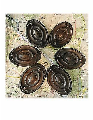 6 Antique Vintage Brass Hepplewhite Drawer Pulls, Federal, Dresser Pulls, Handle
