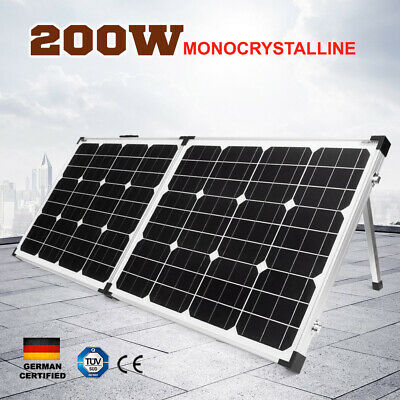 200W Folding Solar Panel Kit 12V Caravan Camping Power Mono Charging 200Watt