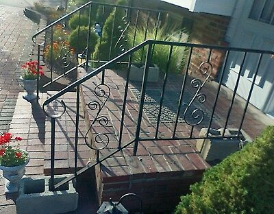 2 Vintage Antique Wrought Iron Hand Railing/ Porch Panels with Spiral Scrolls
