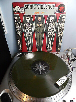 "Sonic Violence Casket Case 12"" Green Vinyl UK 1990 Vile 23 Industrial Rock EX"