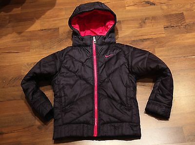 NIKE Dark Blue Hooded Winter Jacket - Girls Coat with Detachable Hood 6-7 years