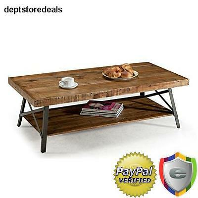 Wood Reclaimed Cocktail Table Coffee Rustic Solid Industrial Antique Natural Top