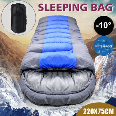 New Single Outdoor Camping Waterproof Sleeping Bag Hiking Winter -10°C 220x75cm
