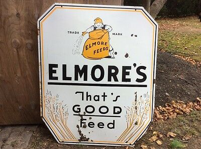 Elmore's feed sign Antique porcelain feed size HUGE .. 57 By 47