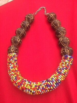 Guiyotine Handmade Necklace With African Trade Beads