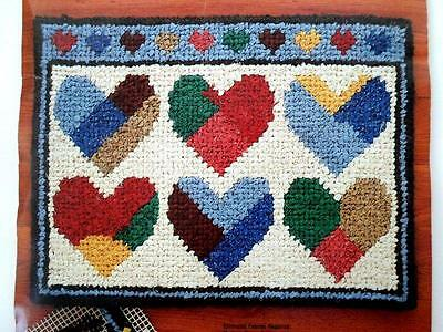 1985 Rag Rug or Latch Hook Printed Canvas PATCHWORK HEARTS 18 x 24 S. McNeill